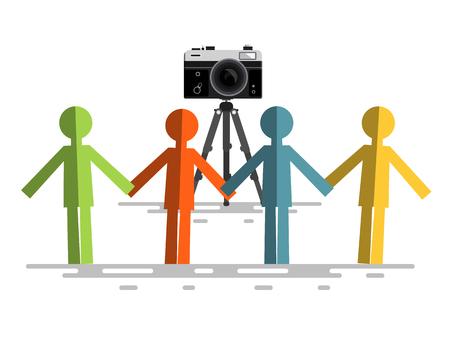 Retro Camera with People Reklamní fotografie - 126584777