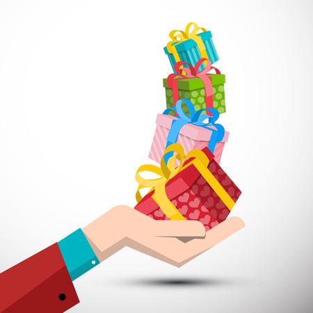 Gift Boxes in Hand Vector Illustration Reklamní fotografie - 126584778