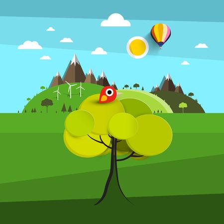 Landscape with Bird on Tree and Hills on Background Reklamní fotografie - 126584780