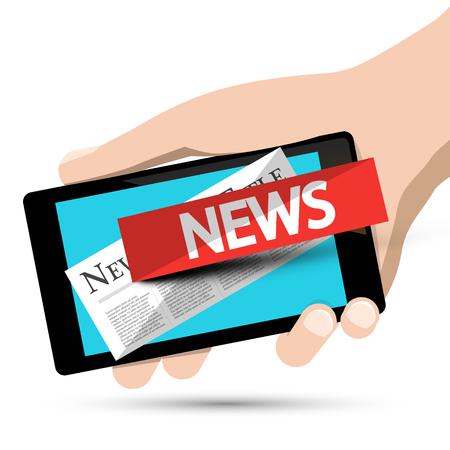 Internet News Design. Phone App with Human Hand. Vector. Reklamní fotografie - 126584789