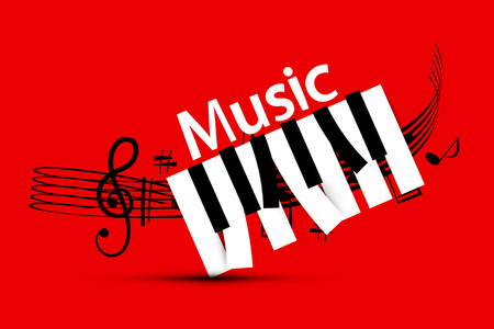 Music Design with Staff and Piano Keys on Red Background Reklamní fotografie - 126584790