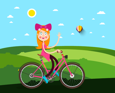 Woman on Bicycle with Meadow on Background Illustration