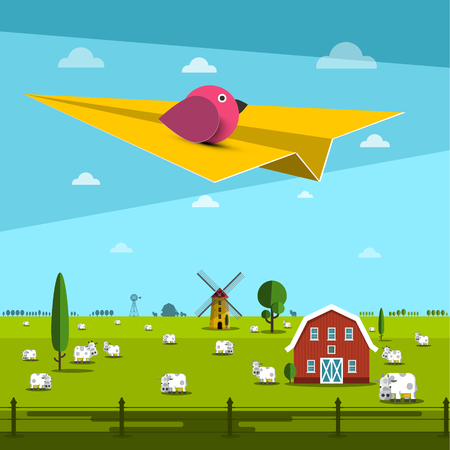 Bird on Paper Plane with Farm on Field on Background Reklamní fotografie - 126584799