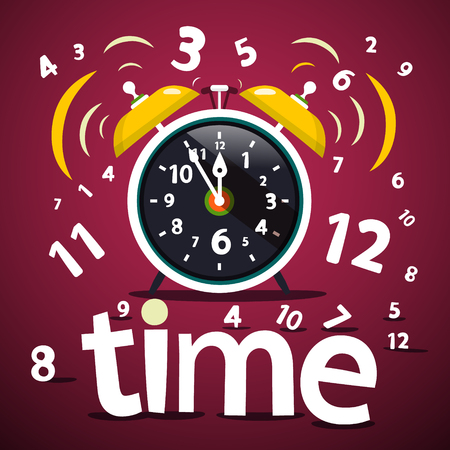 Time Vector Design with Numbers and Ringing Alarm Clock Reklamní fotografie - 126584803