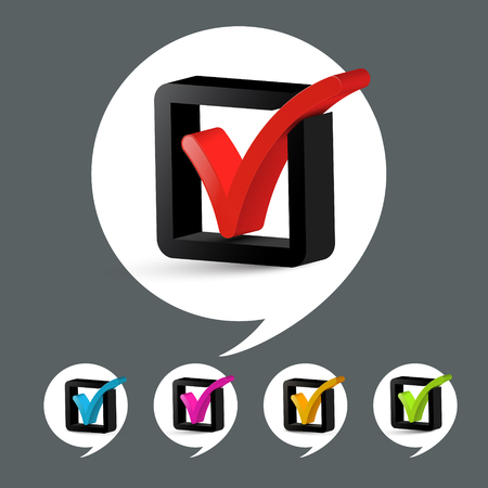 Vector Check Mark Icons Set Ilustrace