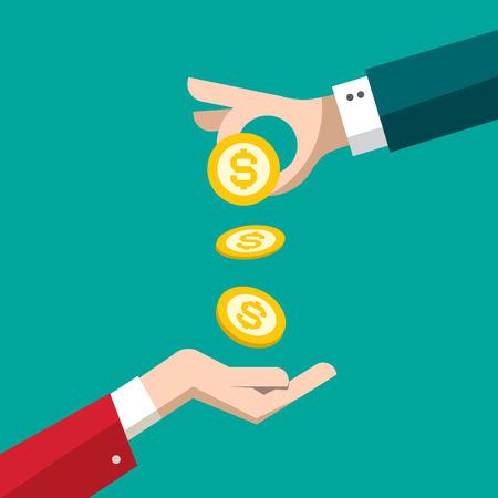 Money Coins in Human Hands. Financial Concept Vector Design. Mortgage Symbol.