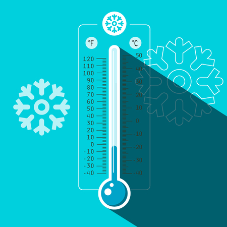 Winter Thermometer Vector Symbol with Cold Temperature on Blue Frozen Background Reklamní fotografie - 126530027