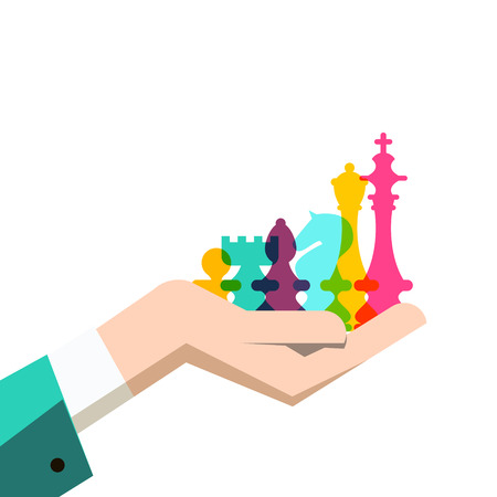 Chess Pieces in Human Hand. Business Strategy Vector Illustration. Reklamní fotografie - 126530028