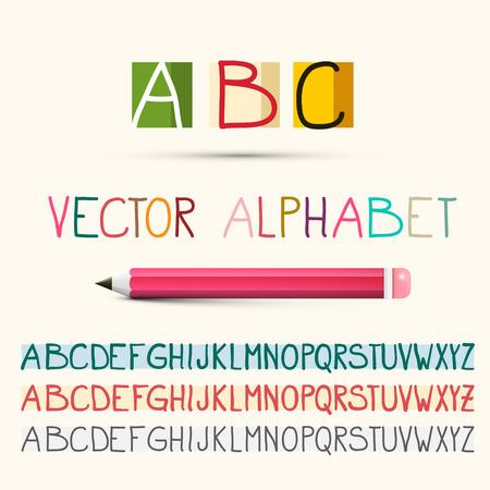 Alphabet. Vector ABC Letters Set with Pencil. Ilustrace