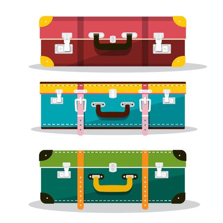 Retro Suitcases. Vector Suitcase Icons Isolated on White Background. Luggage Symbols. Ilustrace