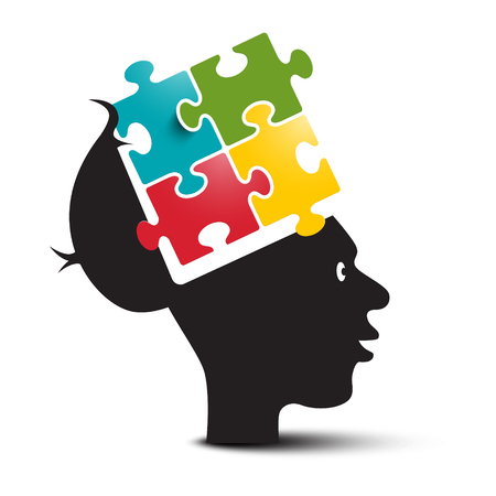 Colorful Puzzle in Human Brain. Open Head with Jigsaw Isolated on White Background. Invention and Solution Concepts. Reklamní fotografie - 126530033