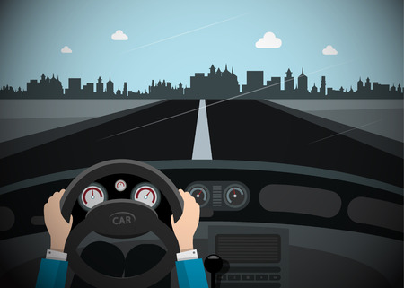 Car on the Road with City Skyline on Background. Vector. Ilustrace