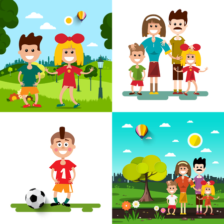 Family with Kids Vector Illustration Set