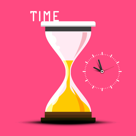 Time Vector Design with Hourglass on Pink Background Reklamní fotografie - 126530037