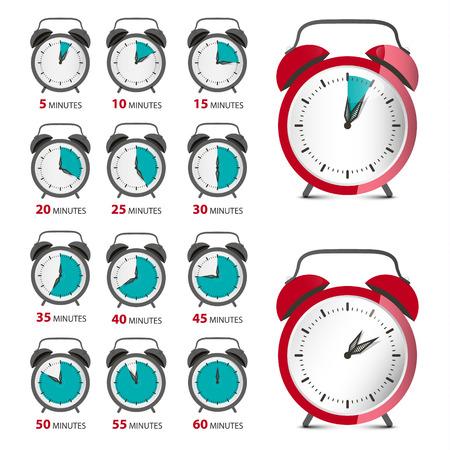 Alarm Clocks Set with Time Symbol. Vector Analog Counter Illustration. Reklamní fotografie - 126530038