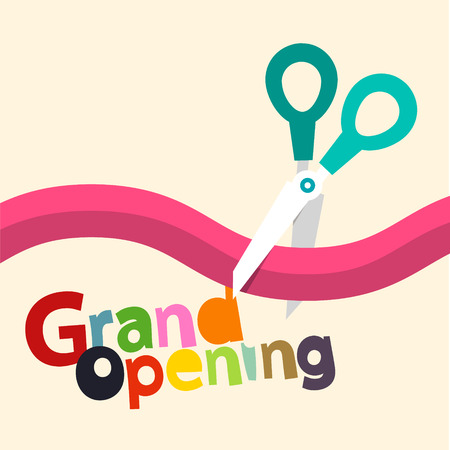 Grand Opening Vector Design with Ribbon and Scissors Reklamní fotografie - 126530055