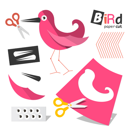Paper Cut Pink Bird Parts with Scissors Isolated on White Background Reklamní fotografie - 126530057