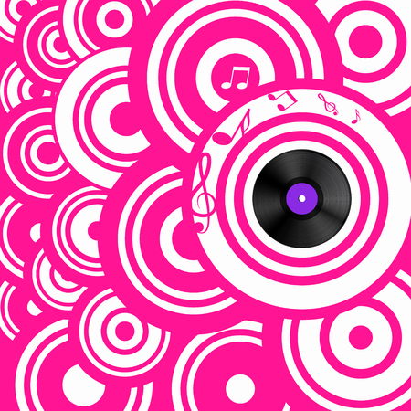 Psychedelic Pink Retro Music Background with Circles and Vinyl Lp Record Reklamní fotografie - 126530060