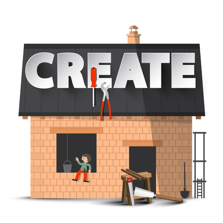 Create. Vector Creativity DIY Concept with House Construction Isolated on White Background. Reklamní fotografie - 126530061