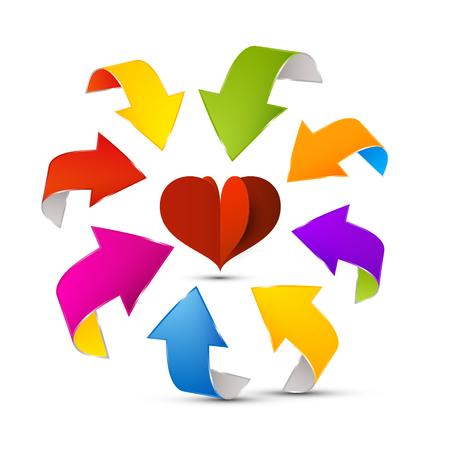 Colorful Vector Arrows Around Red Paper Cut Heart Reklamní fotografie - 126478210