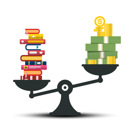 Knowledge - Wisdom and Wealth Comparison. Books and Money on Scales Vector Illustration. Reklamní fotografie - 126478211