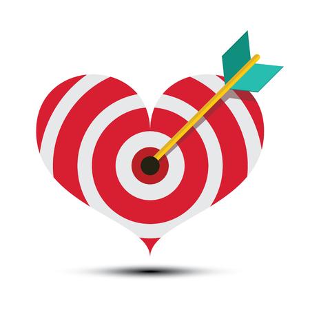 Arrow in Heart Shaped Dart Board. Vector Bullseye Love Symbol. Ilustrace