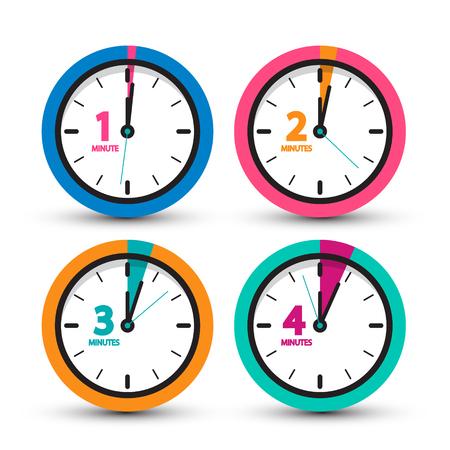 Clock Icons Set. Vector Time Symbol.