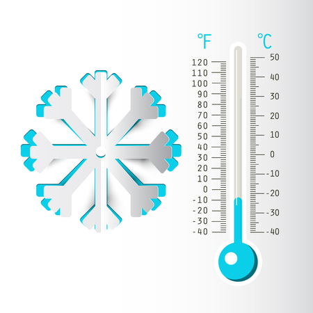 Winter Bckground with Thermometer and Paper Cut Snowflake