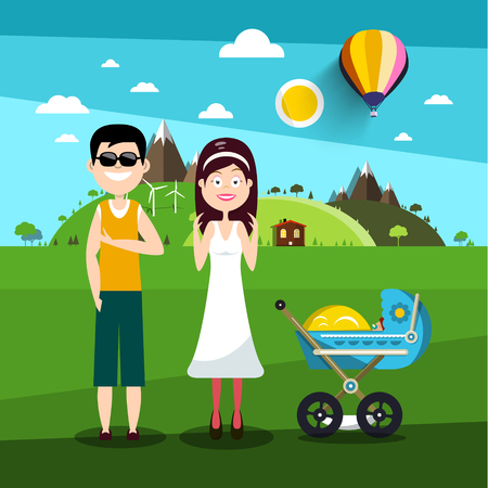 Family on Field. Man and Woman with Baby Carriage Vector Illustration. Reklamní fotografie - 126478217