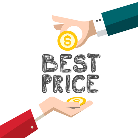 Best Price Vector Design with Dollar Coins and Hands