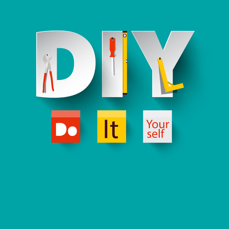 DIY - Vector Do it Yourself Design with Paper Cut Letters and Tools. Stock Illustratie