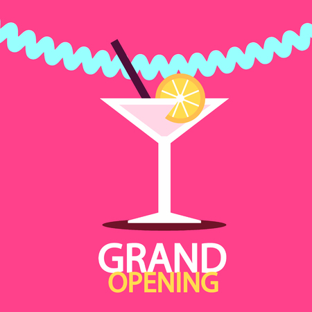 Grand Opening Vector Banner with Martini Drink