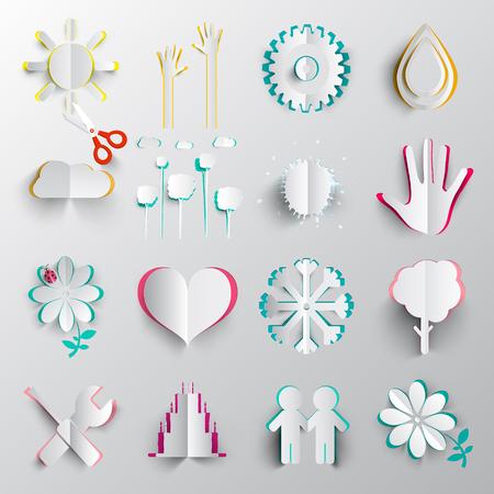 Paper Cut Symbols. Vector Origami Icons. Ilustrace