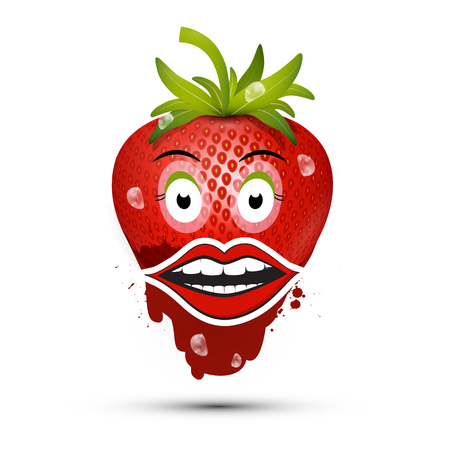 Strawberry with Eyes and Mouth. Vector Funky Dessert. Reklamní fotografie - 126478227