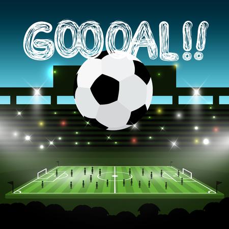 Soccer Ball on Football Stadium with Goooal!! title. Goal Vector Sport Symbol. Ilustrace
