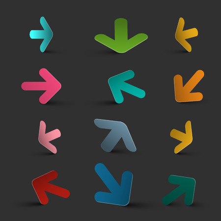 Arrows on Dark Background. Colorful Vector 3D Arrow Collection. Ilustrace