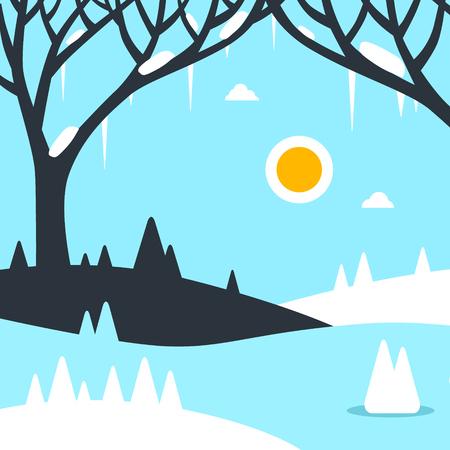 Winter Landscape Vector Flat Design Illustration