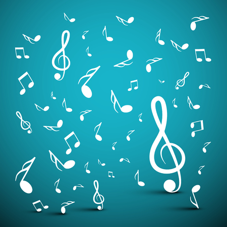 Musical Notes on Blue Background Ilustrace