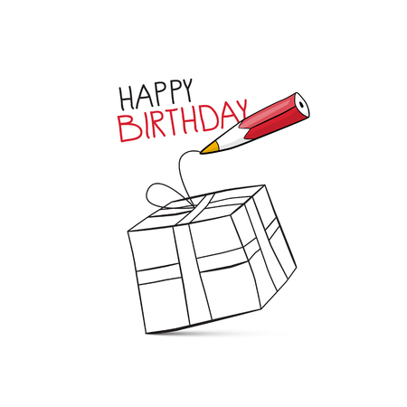 Happy Birthday Vector Design with Pencil Drawing Gift Box