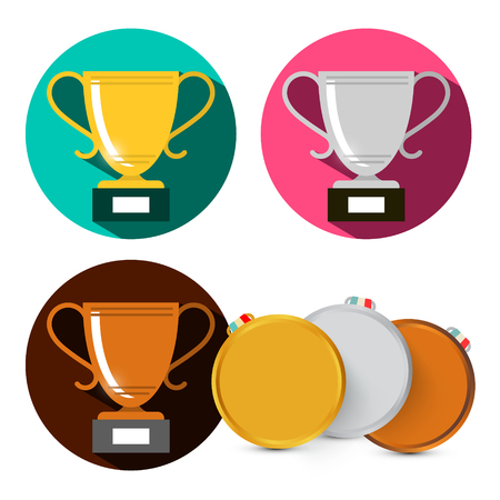 Gold Silver and Bronze Cups. Vector Medals Set Isolated on White Background.