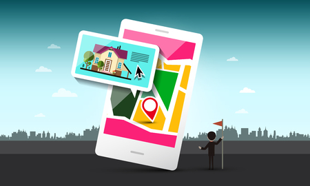 Smart Phone with House and Pin on Map. Vector Urban Landscape. Ilustrace