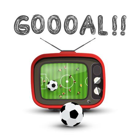 Goal Symbol with Soccer Match on Retro Analog Tv. Vector Goooal Design.