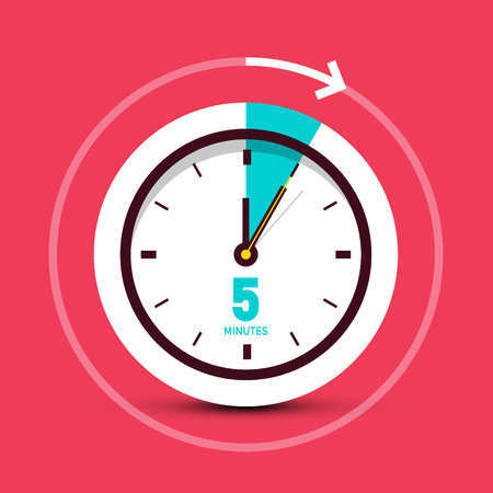 5 Five Minutes Vector Clock Icon with Arrow on Red Background