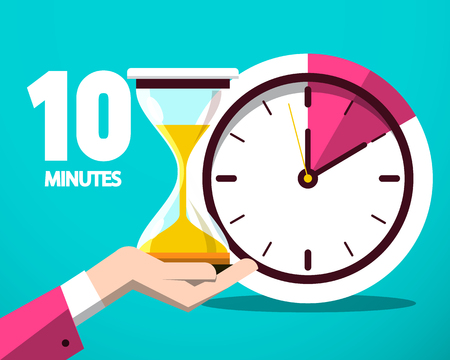 Dix 10 minutes compteur horloge et icône du design plat vecteur sablier