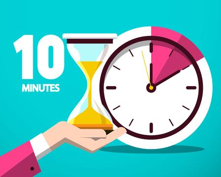 Zehn 10-Minuten-Zähleruhr und Sanduhr-Vektor-flaches Design-Symbol