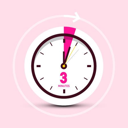 3 Three Minutes Clock Icon on Pink Background Illustration