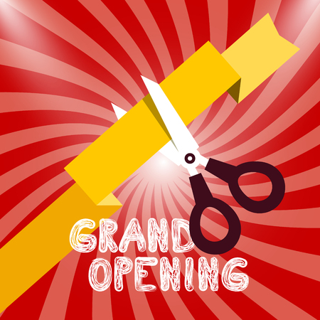 Grand Opening Vector Design with Ribbon and Scissors