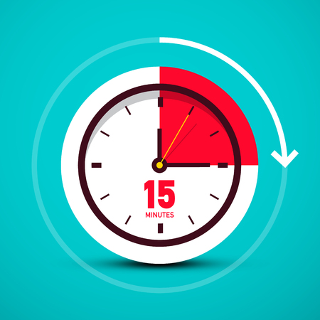 Fifteen 15 Minutes Time Symbol. Analog Vector Clock Icon.