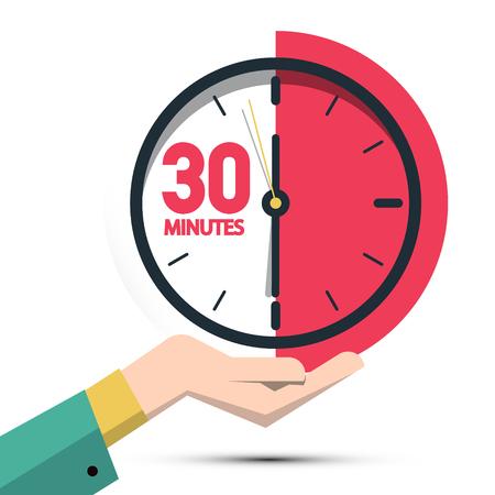 30 trenta minuti in mano. Simbolo del tempo vettoriale isolato su sfondo bianco Vettoriali