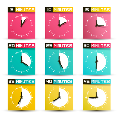 Vector Clock Set. Analog Time Symbols with 5, 10, 15, 20, 25, 30, 35, 40 and 45 Minutes Icons.